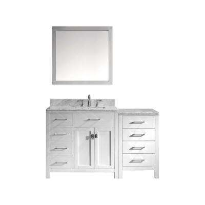 Caroline Parkway 57 in. W x 36 in. H Vanity with Marble Vanity Top in Carrara White with White Basin and Mirror