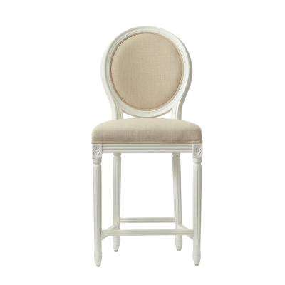 Jacques 26.5 in. Natural Cushioned Counter Stool in Antique Ivory with Oval Back