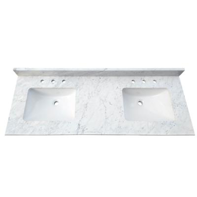 61 in. W x 22 in. D x 1 in. H Bianco Carrara White Marble Double Basin Vanity Top with White Basins