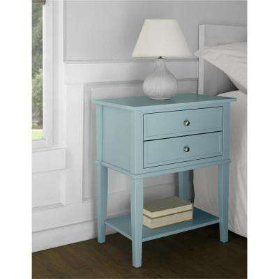 Franklin Accent Table with 2 Drawers in Blue