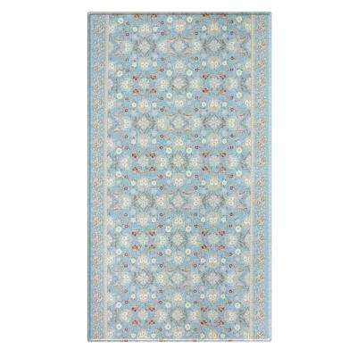 Soft Modern Blue and Cream 8 ft. x 4.5 ft. Traditional Victoria Reversible Indoor Area Rug