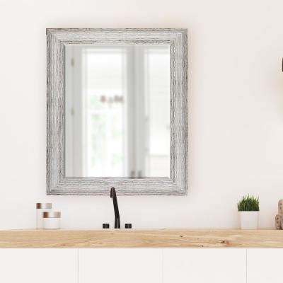 29.5 in x 35.5 in. Brown and Antique White Decorative Mirror