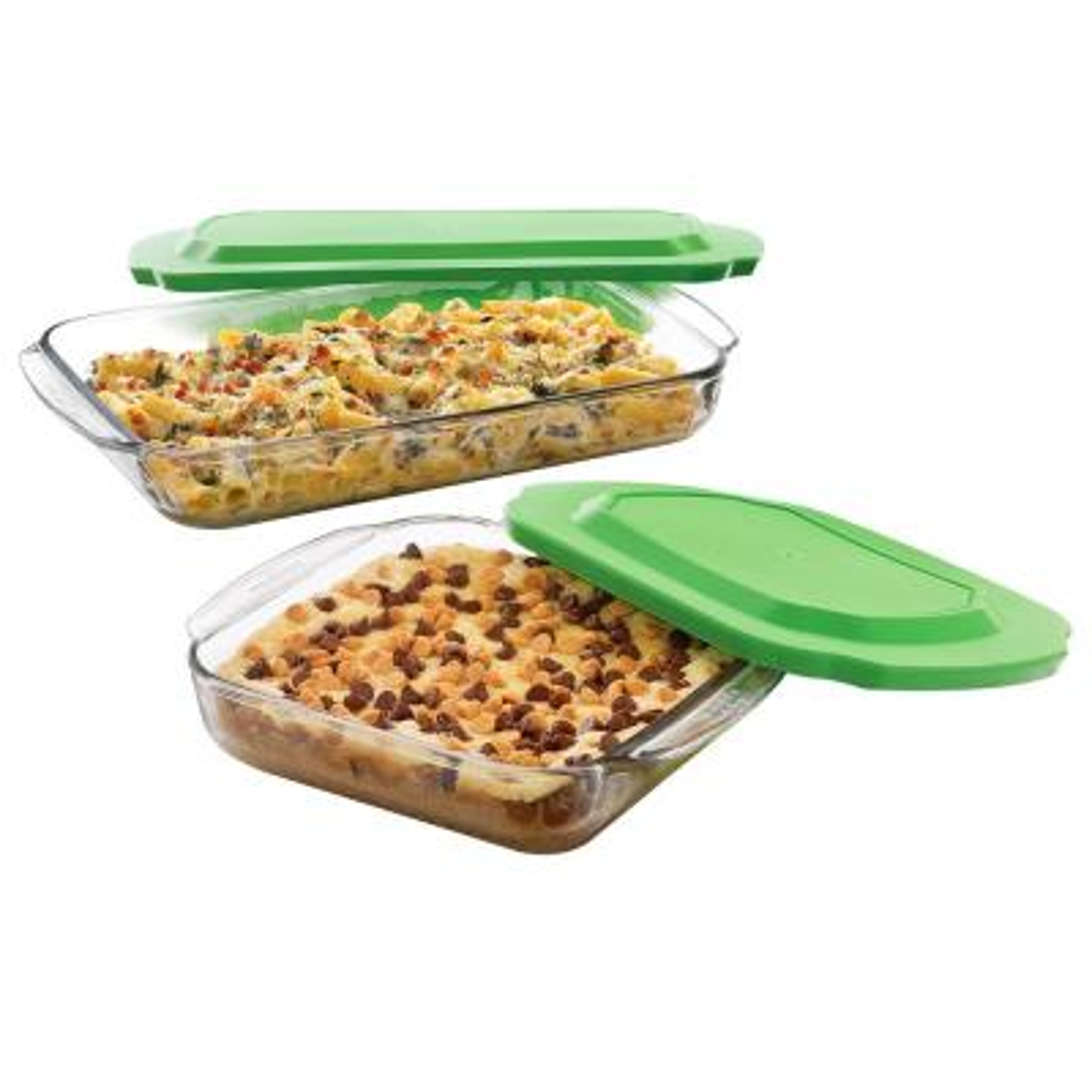 Baker's Basics 2-Piece Glass Bake Dish Set with 2 Plastic Lids Value Pack