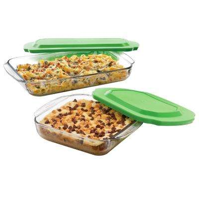 Baker's Basics 2-Piece Glass Bake Dish Set with 2 Plastic Lids Value Pack