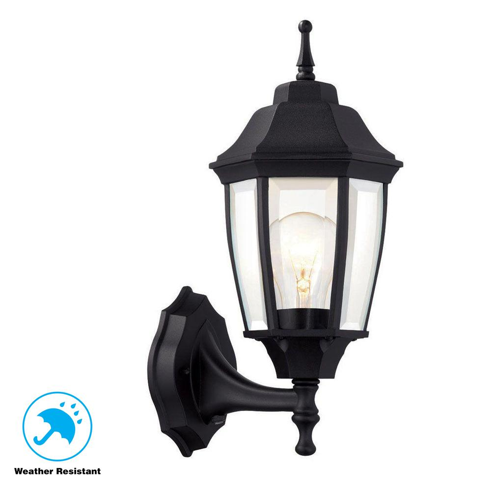 Hampton Bay 1-Light Black Dusk-to-Dawn Outdoor Wall Lantern