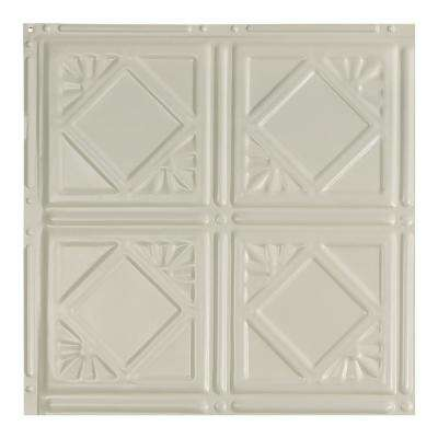 Ludington Antique White 12 in. x 12 in. Nail-Up Ceiling Tile Sample