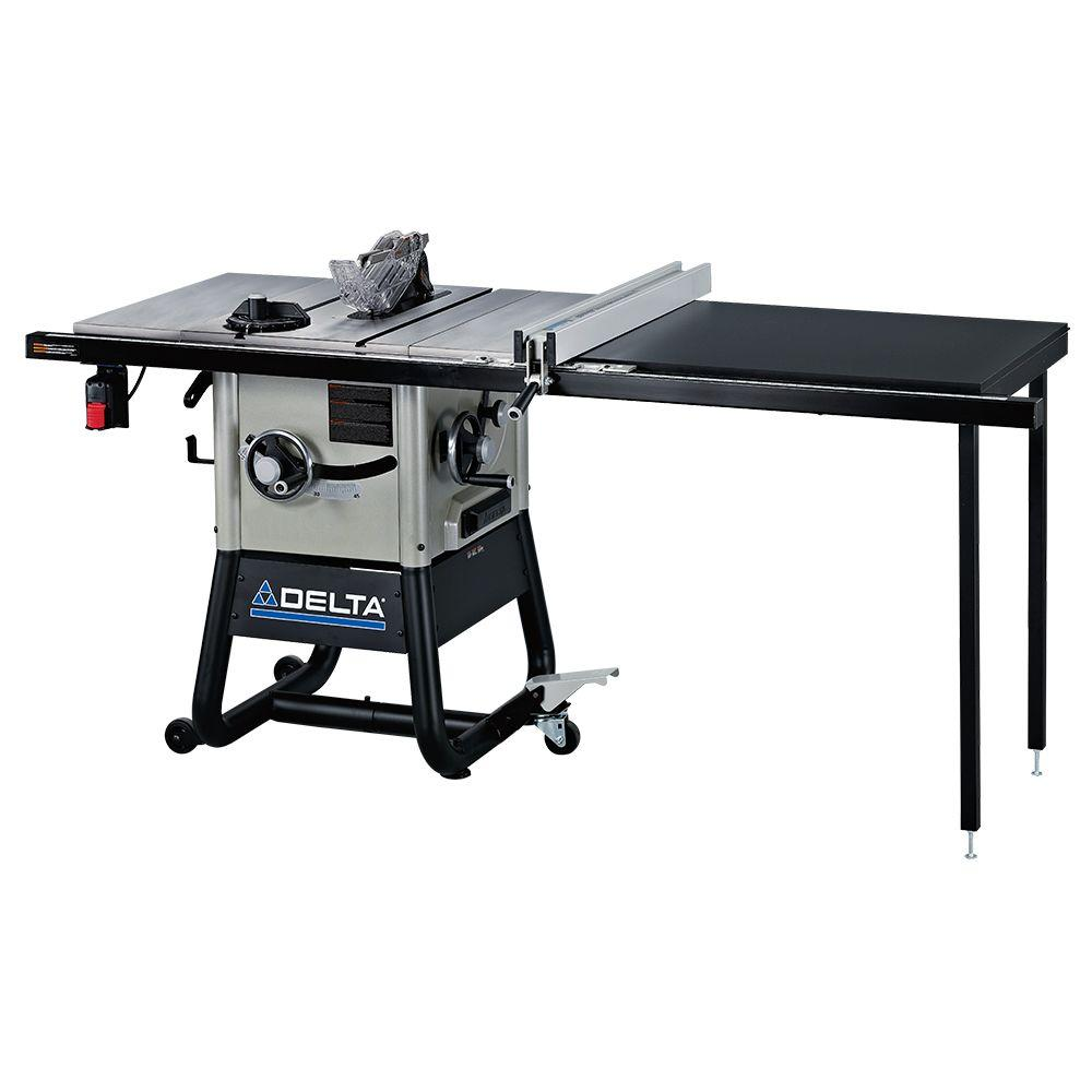 Delta 15 Amp 10 in. Left Tilt 52 in. Contractor Table Saw with Cast Iron Wings