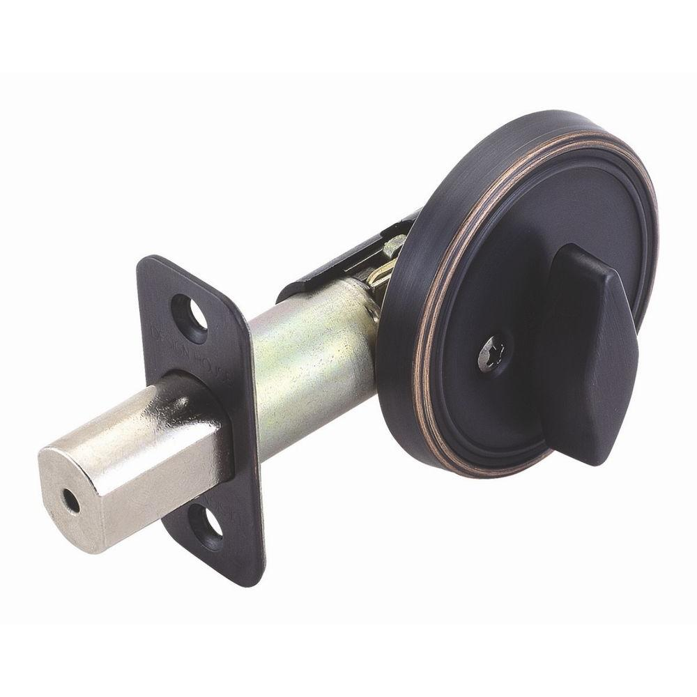 2-3/8 in. Backset Single Sided Oil-Rubbed Bronze Deadbolt with Turn-Button