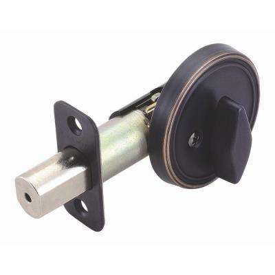 2-3/8 in. Backset Single Sided Oil-Rubbed Bronze Deadbolt with Turn-Button Interior
