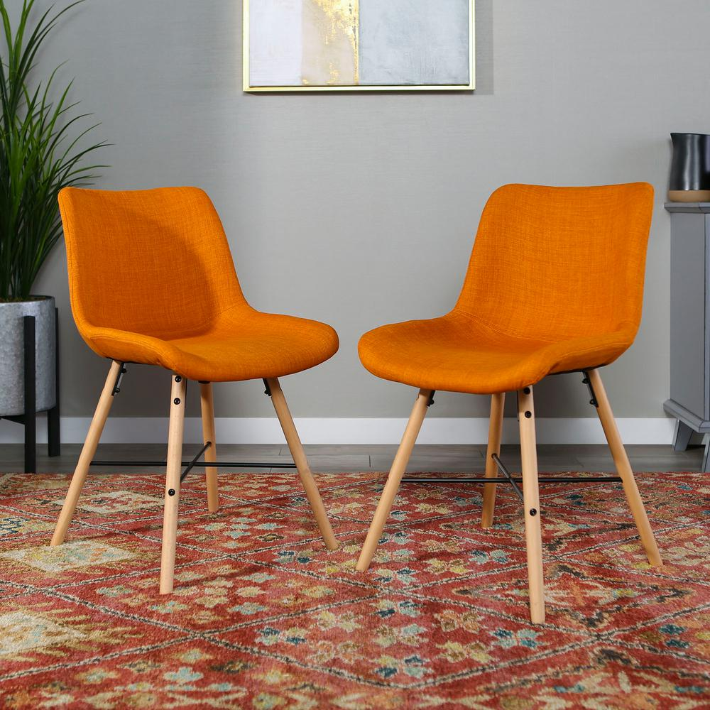 Orange Upholstered Linen Side Chair Set Of 2