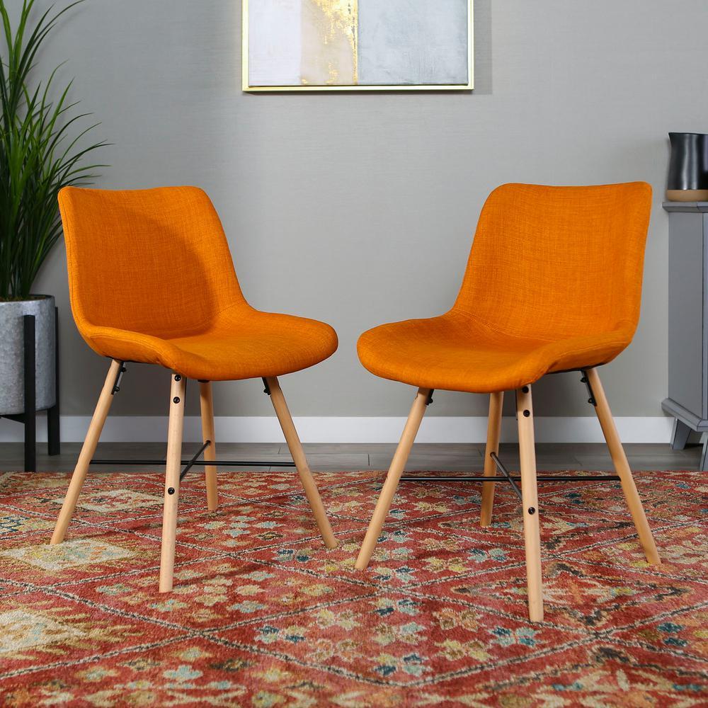 Orange Upholstered Linen Side Chair (Set of 2)