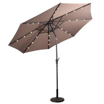 10 ft. LED Steel Market Tilt Patio Solar Umbrella with Crank Outdoor in Tan
