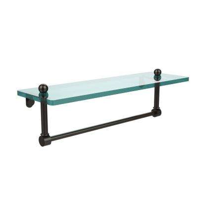 16 in. L  x 5 in. H  x 5 in. W Clear Glass Vanity Bathroom Shelf with Integrated Towel Bar in Oil Rubbed Bronze