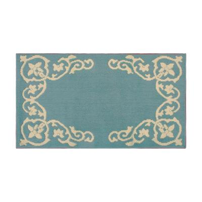 Karima 32 x 56 in. Loop Accent Rug, Blue Lagoon/Berber