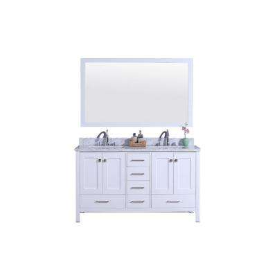 61 in. W x 22 in. D Vanity in White with Marble Vanity Top in White and Gray with White Basin and Mirror