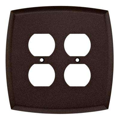 Mandara Decorative Double Duplex Outlet Cover, Cocoa Bronze