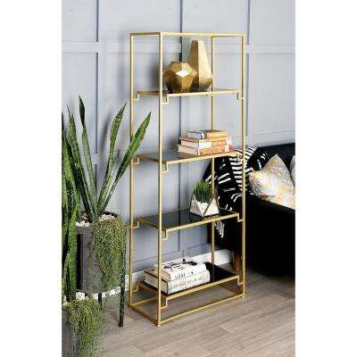 Textured Gold and Smooth Glass 4-Tier Shelf
