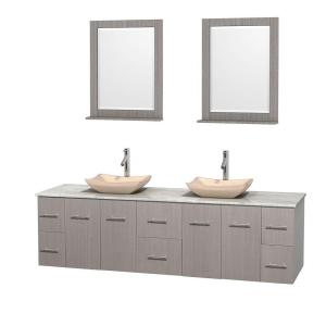 Wyndham Collection Centra 80 inch Double Vanity in Gray Oak with Marble Vanity Top in Carrara White, Ivory Marble Sinks... by Wyndham Collection