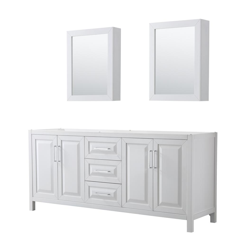 Daria 78.75 in. Double Bathroom Vanity Cabinet Only with Medicine Cabinets in White