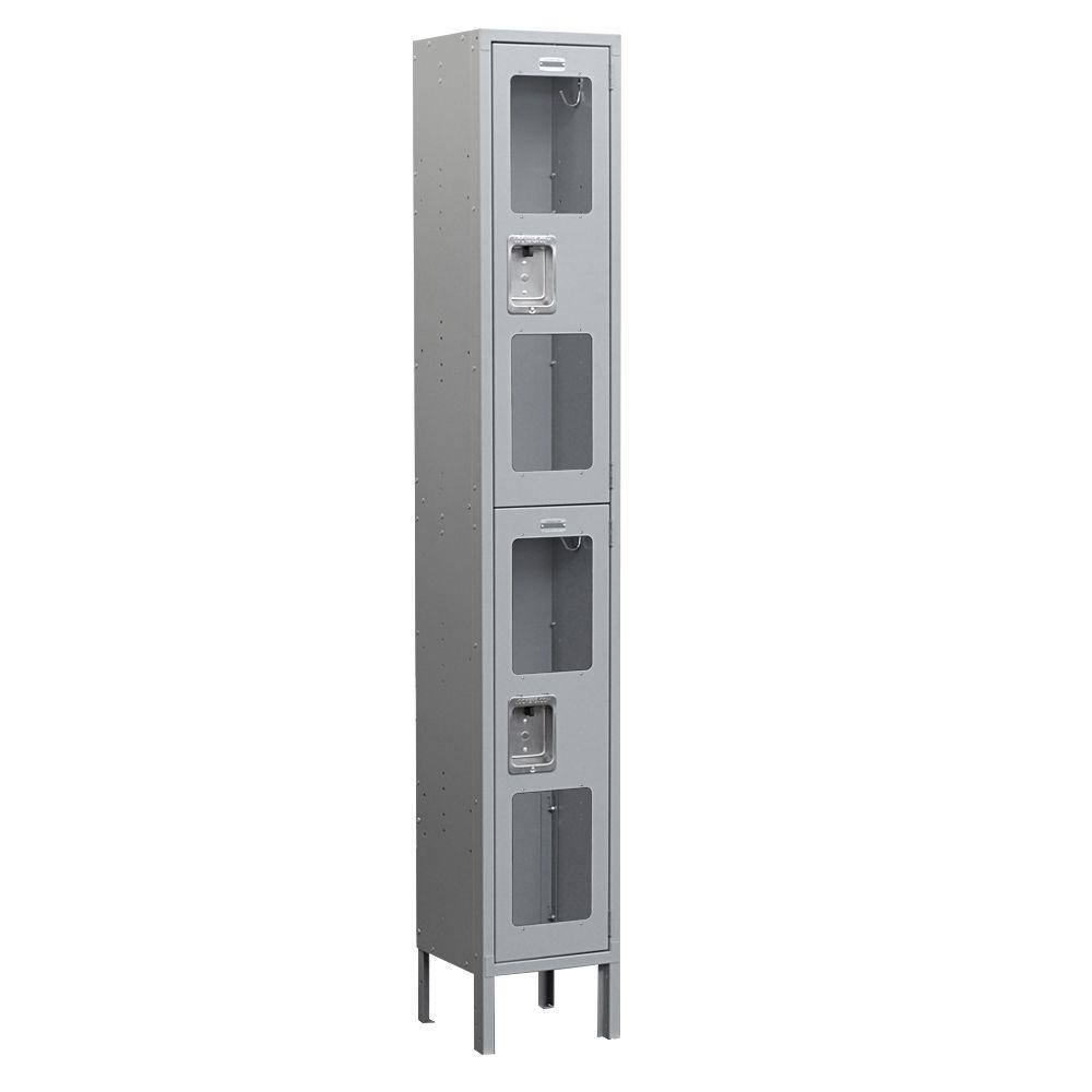 Salsbury Industries S-62000 Series 12 in. W x 78 in. H x 18 in. D 2-Tier See-Through Metal Locker Unassembled in Gray