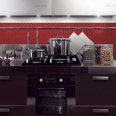 Murano Cosmo Approximately 3 in. W x 3 in. H Red Decorative Mosaic Wall Tile Backsplash Sample