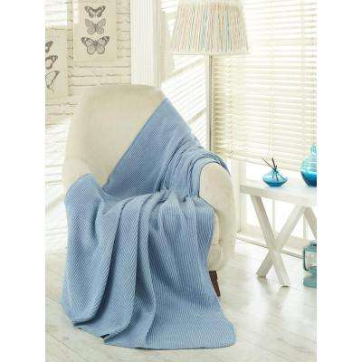 50 in. W x 65 in. L Waffle Light Blue Solid Soft Cotton Cozy Fleece Blanket