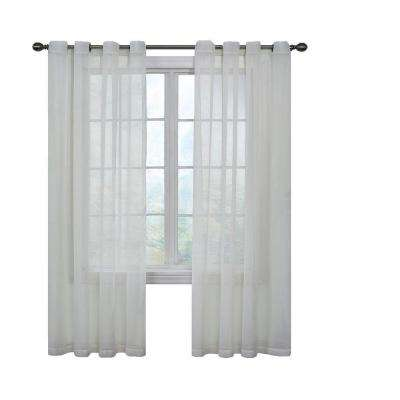 Arm and Hammer Odor Neutralizing Grommet White Sheer Curtain Panel, 84 in. Length