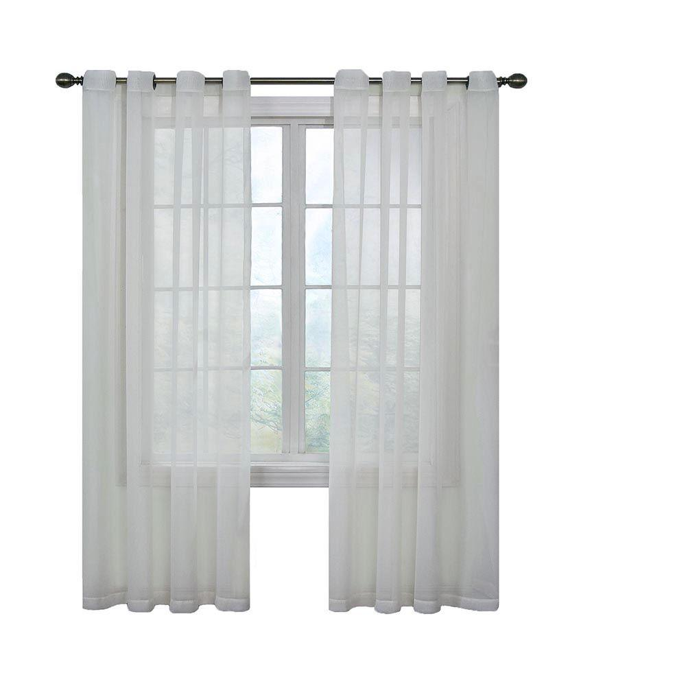 curtain fresh sheer arm and hammer odor neutralizing grommet white sheer curtain panel 120 in - White Sheer Curtains