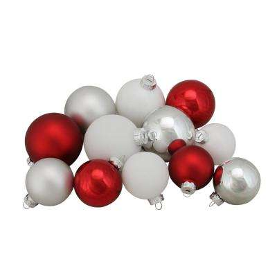 2.5 in. to 3.25 in. Red Silver and White Shiny and Matte Glass Ball Christmas Ornaments (96-Count)