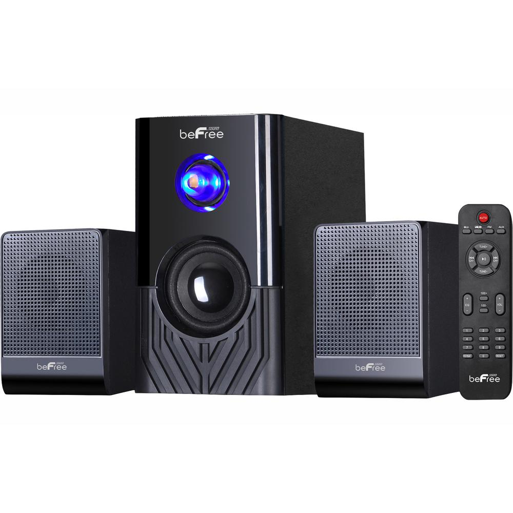 2.1-Channel Surround Sound Bluetooth Speaker System in Black Enjoy the ultimate home theater experience with beFree Sound's 2.1-Channel Surround Sound Bluetooth Speaker System. This speaker system is sophistically designed, featuring a sleek look and smooth sound. With Bluetooth, USB, SD and FM radio capability, the system offers the best possible listening options for your enjoyment.