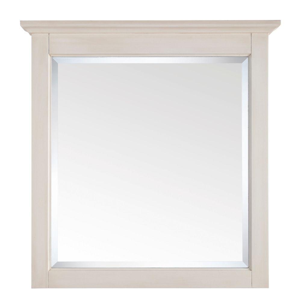 Avanity Tropica 31 in. x 32 in. Beveled Edge Mirror in Antique White