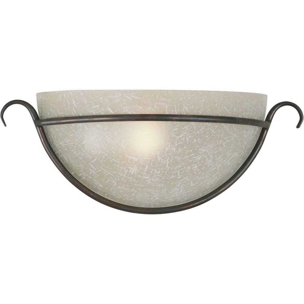 Talista 1-Light Antique Bronze Wall Sconce with Umber Linen Glass Shade