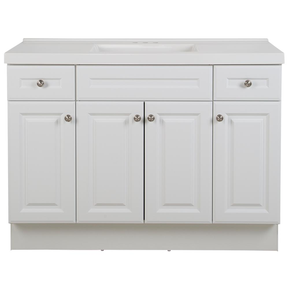 Glacier Bay Glensford 49 in. W x 22 in. D Bathroom Vanity in White with Cultured Marble Vanity Top in White with White Sink