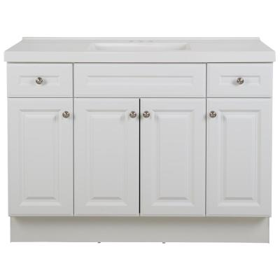 Glensford 49 in. W x 22 in. D Bathroom Vanity in White with Cultured Marble Vanity Top in White with White Sink