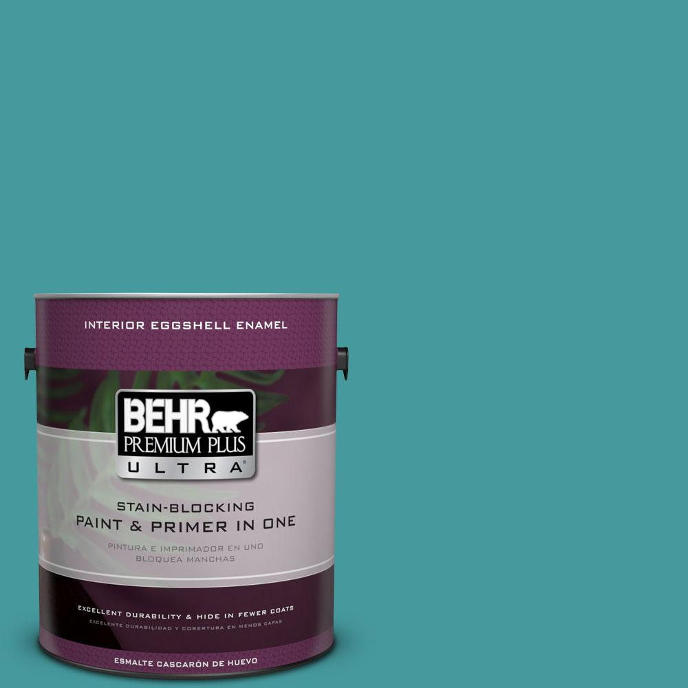 BEHR Premium Plus Ultra 1-gal. #510D-6 Aquatic Green Eggshell Enamel Interior Paint