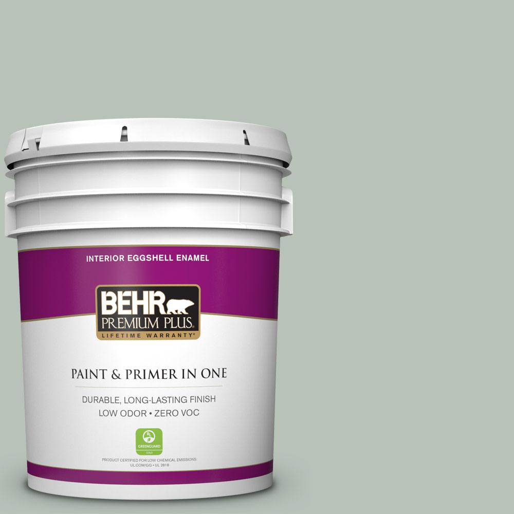 Behr premium plus 5 gal mq6 18 recycled glass eggshell enamel zero voc interior paint and for Behr interior paint and primer in one
