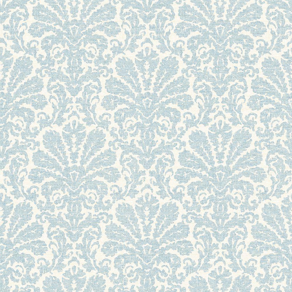 Chesapeake Seascape Blue Damask Wallpaper Sample
