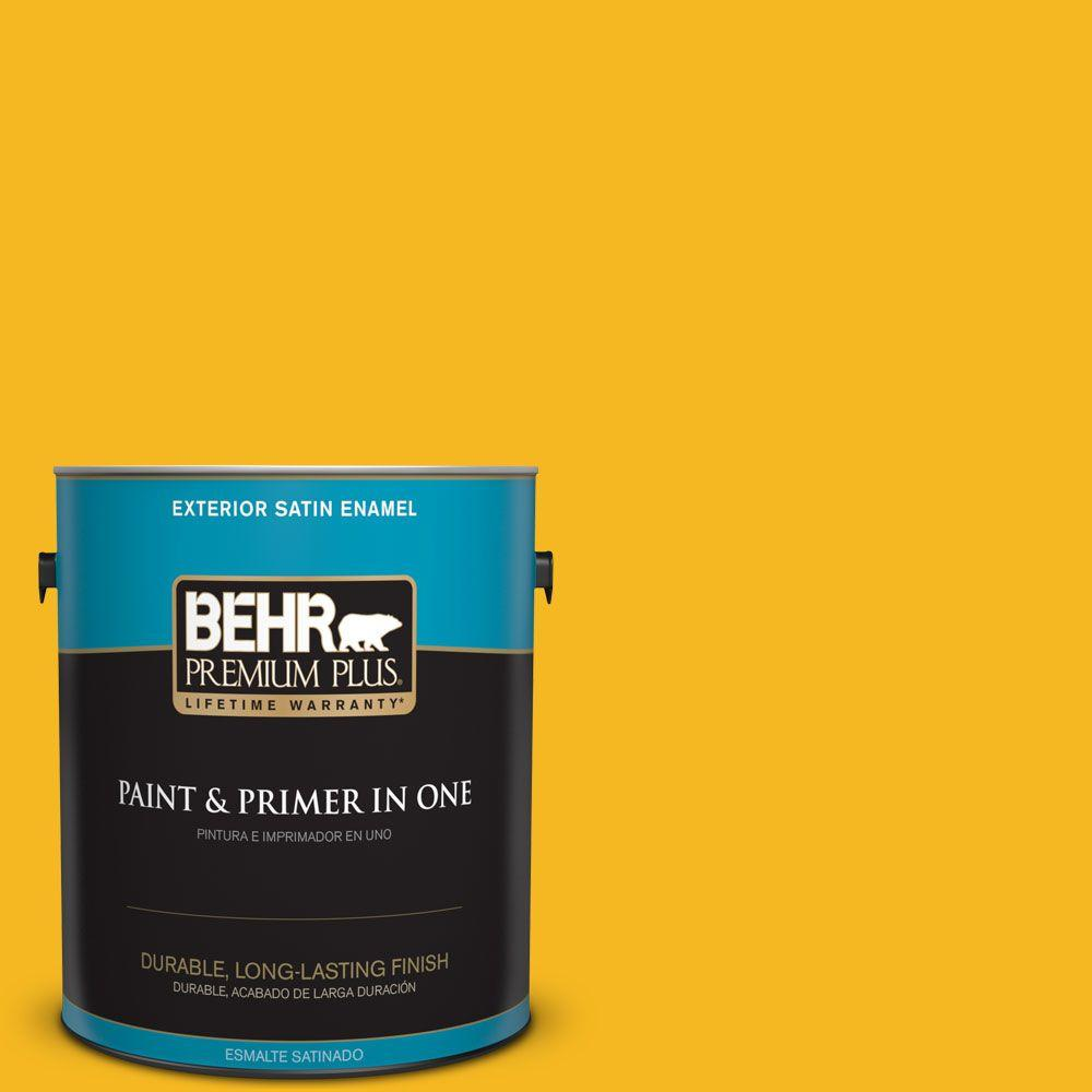 1 gal. #HDC-MD-02A Yellow Groove Satin Enamel Exterior Paint