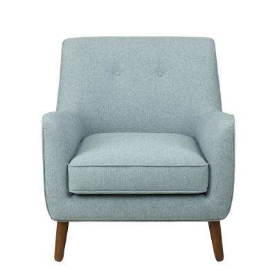 Brushed Light Blue Modern Tufted Accent Chair
