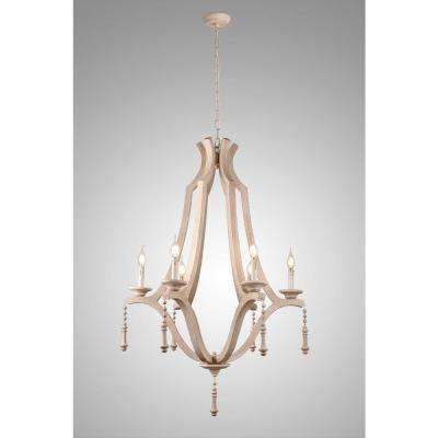 Musella 6-Light Brown Wood Chandelier with Wood Beads