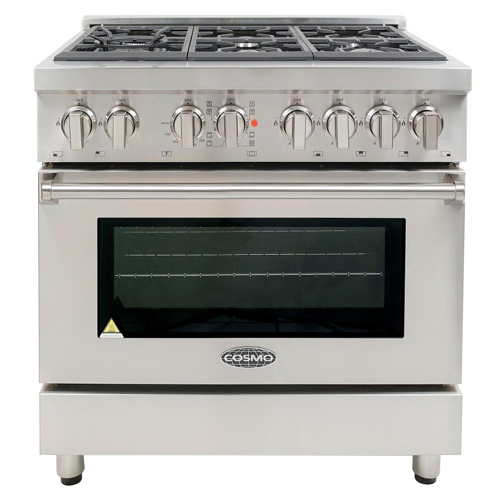 Cosmo Commercial-Style 36 in. 4.5 cu. ft. Dual Fuel Range...