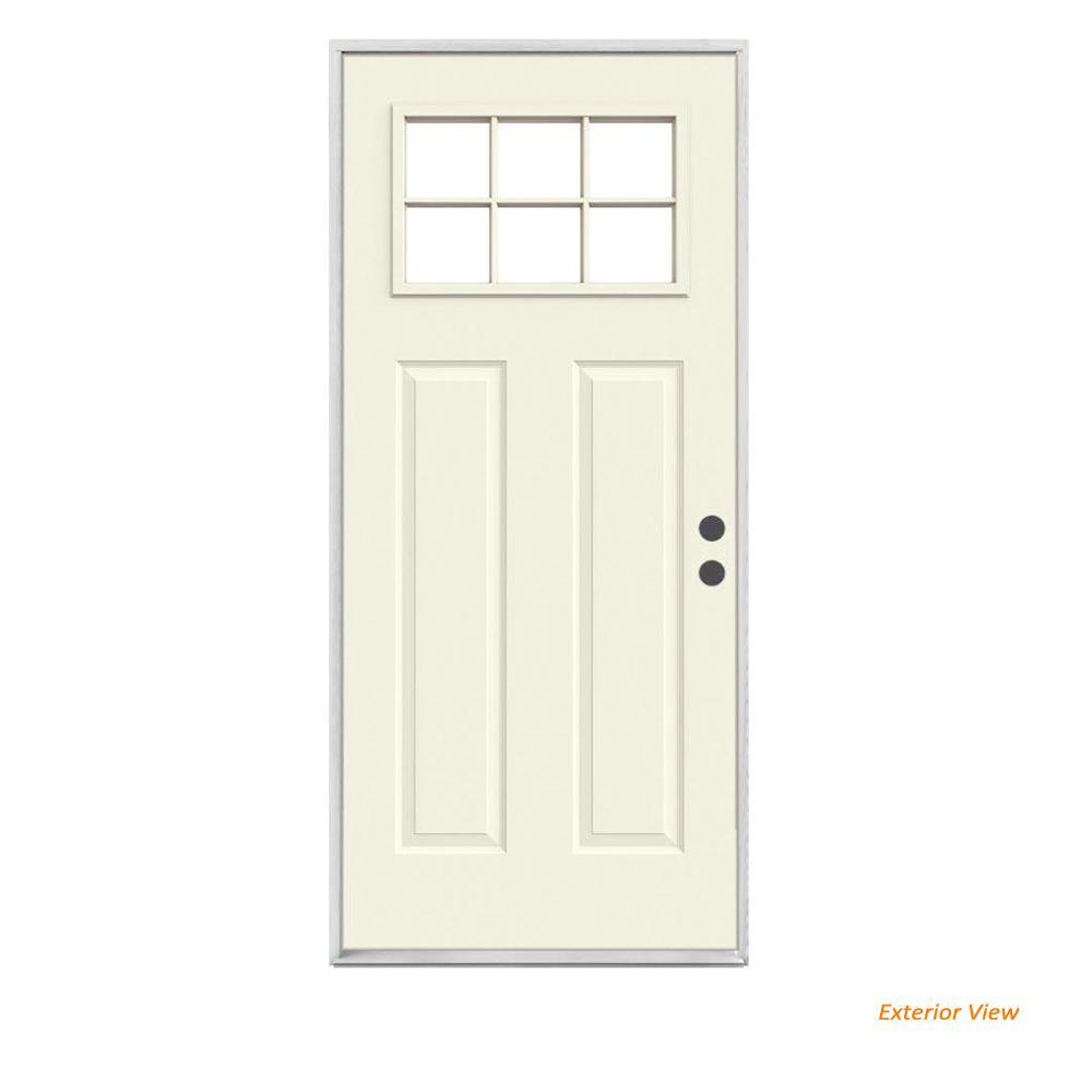 32 in. x 80 in. 6 Lite Craftsman Primed Steel Prehung Left-Hand Inswing Front Door