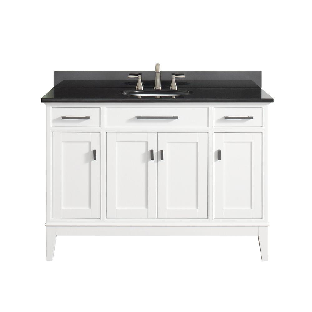 Avanity Madison 49 in. W x 22 in. D x 35 in. H Vanity in White with Granite Vanity Top in Black with White Basin