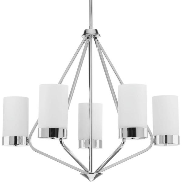 Elevate Collection 5-light Polished Chrome Chandelier with Etched Glass Shade