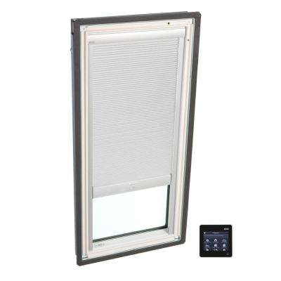 21 in. x 26-7/8 in. Fixed Deck-Mount Skylight with Tempered Low-E3 Glass and White Solar Powered Room Darkening Blind