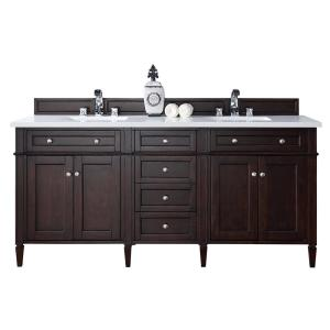 James Martin Signature Vanities Brittany 72 inch W Double Vanity in Burnished Mahogany with Quartz Vanity Top in White... by James Martin Signature Vanities