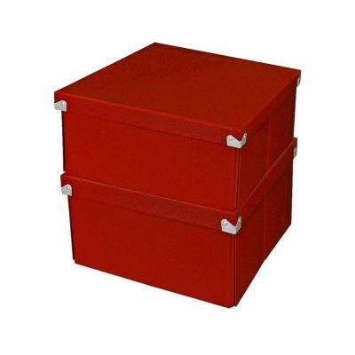 Pop n' Store Document Box with Lid in Red (2-Pack)