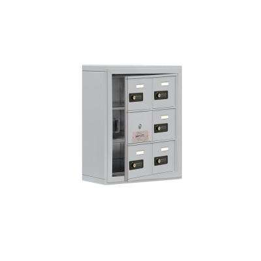 19100 Series 17.5 in. W x 20 in. H x 6.25 in. D 5 Doors Cell Phone Locker S-Mount Resettable Locks in Aluminum