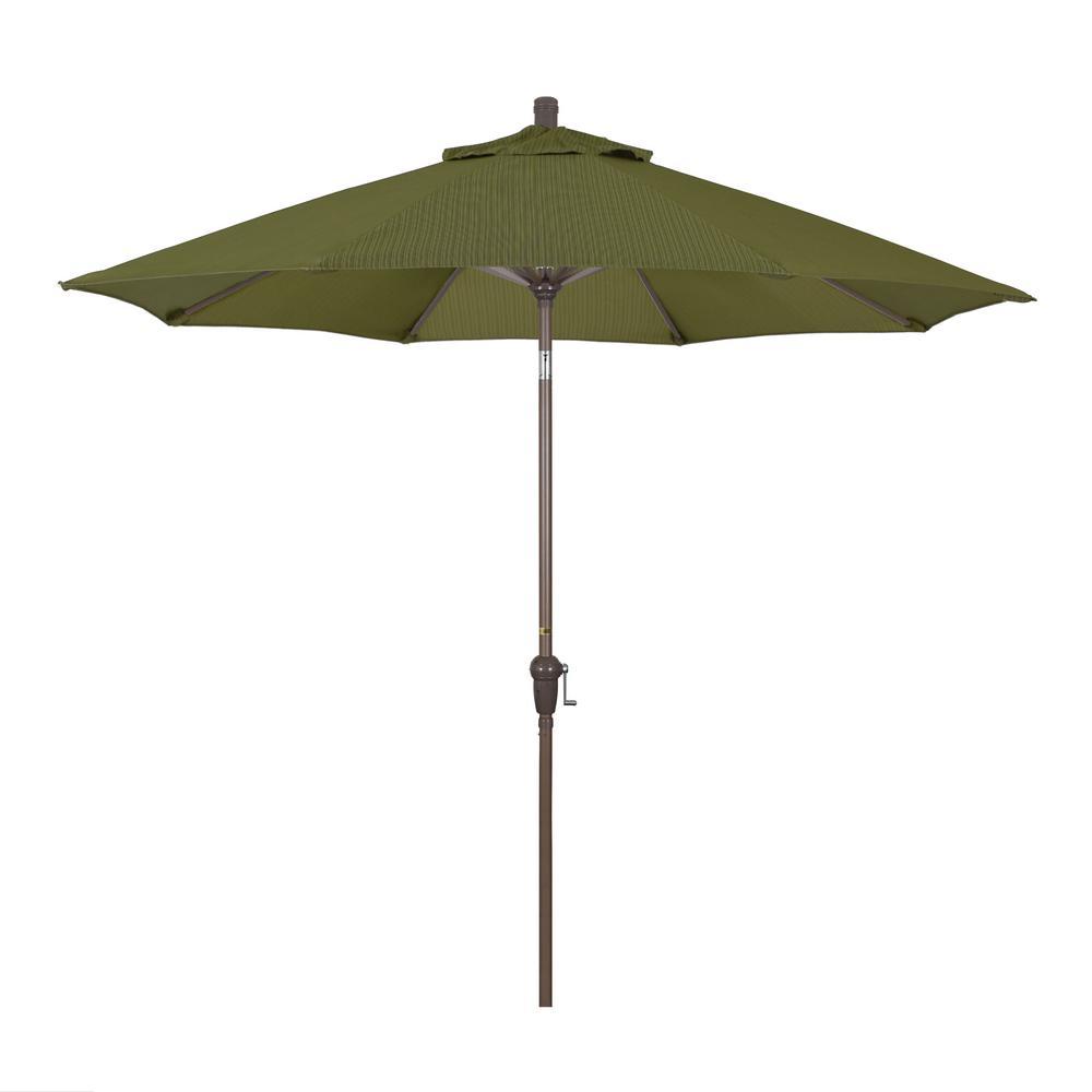37383ad14d07 California Umbrella 9 ft. Aluminum Market Auto Tilt Champagne Patio  Umbrella in Terrace Fern Olefin