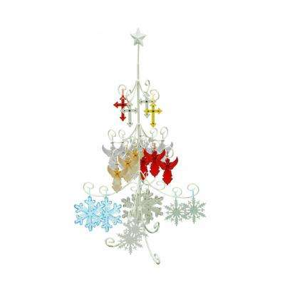 46 in. Indoor Pre-Lit Christmas Tree Hanging Decoration Metal Stand